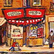 Jewish Montreal Vintage City Scenes Schwartzs Original Hebrew Deli Poster