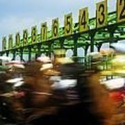Jockeys Leaving Starting Gates Poster