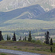 Jogger On The Glenn Highway And Chugach Poster