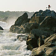 Kayaker Carries Boat Up The Rocks Poster