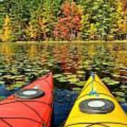 Kayaks In The Fall Poster