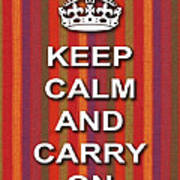Keep Calm And Carry On Poster Print Red Purple Stripe Background Poster
