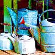 Kettles And Cans To Water The Garden Poster