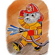Kids Art Firedog Firefighter  Poster