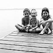 Kids Sitting On Dock Poster