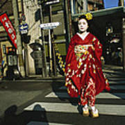 Kimono-clad Geisha Crosses A Street Poster