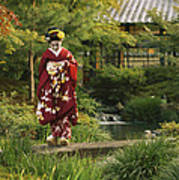 Kimono-clad Geisha In A Park Poster by Justin Guariglia