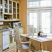 Kitchen Cabinets And Table Poster