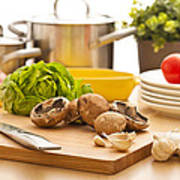 Kitchen Still Life Preparation For Cooking Poster