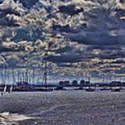 Kite Surfing At St Kilda Beach Poster by Douglas Barnard