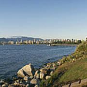Kitsilano Beach And Vancouver Skyline Poster