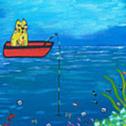 Kittyboy Goes Deep Sea Fishing Poster