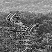 Knobels Wooden Roller Coaster Black And White Poster