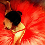 La Ballerine Rouge Dans Le Theatre Poster by Rusty Woodward Gladdish