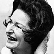 Lady Bird Johnson Smiles As The Wind Poster by Everett