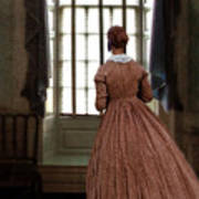 Lady In 19th Century Clothing Looking Out Window Poster