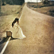 Lady In Gown Sitting By Road On Suitcase Poster