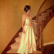 Lady In Lace Gown On Staircase Poster