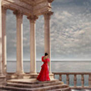 Lady In Red Gown By The Sea Poster
