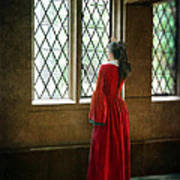 Lady In Tudor Gown Looking Out A Window Poster