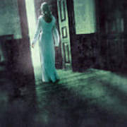 Lady In White Gown Walking Through A Mysterious Doorway Poster