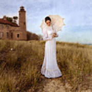 Lady In White With Parasol By The Sea Poster