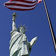Lady Liberty And Us Flag Poster