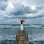 Lady On Dock In Storm Poster