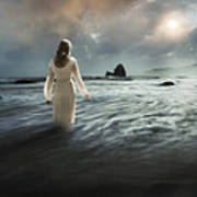 Lady Wading Into The Sea In The Early Morning Poster