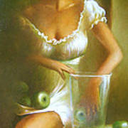 Lady With Green Apples Poster