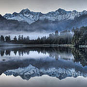 Lake Matheson In Predawn Winter Light Poster
