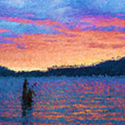 Lake Quinault Sunset - Impressionism Poster