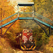 Lake Winnipesaukee New Hampshire Railroad Train In Autumn Foliage Poster
