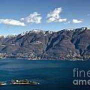 lake with Brissago islands and snow-capped mountain Poster