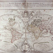 Land And Water Map Of The World Poster
