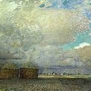 Landscape With Huts Poster by Leopold Karl Walter von Kalckreuth