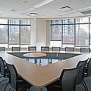 Large Empty Boardroom. A Long Narrow Poster by Marlene Ford
