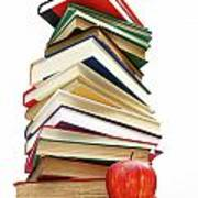 Large Pile Of Books Isolated On White Poster
