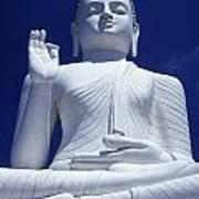 Large Seated White Buddha Poster