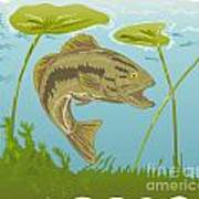 Largemouth Bass Jumping Poster by Aloysius Patrimonio