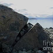 Laughing Rock On Lake Tekapo Foreshore.o Poster