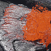 Lava Bursting At Edge Of Active Lava Poster