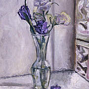 Lavender Flowers In A Glass Vase With Glass Block Window Poster
