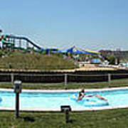 Lazy River Panorama At A Water Park Poster