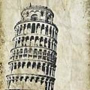 Leaning Tower Of Pisa On Old Paper Poster by Setsiri Silapasuwanchai