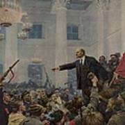 Lenin 1870-1924 Declaring Power Poster by Everett