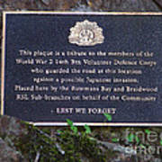 Lest We Forget Poster by Joanne Kocwin