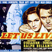 Let Us Live, Maureen Osullivan, Henry Poster by Everett