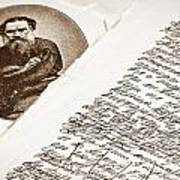 Lev Tolstoy And His Handwriting Notes Poster