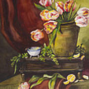 Library Table With Tulips Poster
